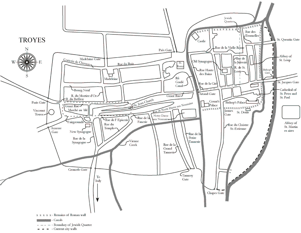 Rashis Daughters Map of Troyes